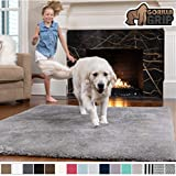 Gorilla Grip Original Faux-Chinchilla Area Rug, 5x7 Feet, Super Soft and Cozy High Pile Washable Carpet, Modern Rugs for Floor, Luxury Shag Carpets for Home, Nursery, Bed and Living Room, Dark Gray