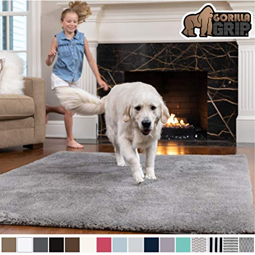 Gorilla Grip Original Faux-Chinchilla Area Rug, 3x5 Feet, Super Soft and Cozy High Pile Washable Carpet, Modern Rugs for Floor, Luxury Shag Carpets for Home, Bed and Living Room, Dark Gray (5 Rug X 6 6 3)
