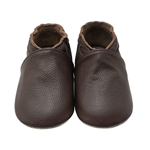 Yalion Baby Boys Girls Shoes Crawling Slipper Toddler Infant Soft Leather First Walking Moccs(Dark Brown,6-12 Months) - Image 1