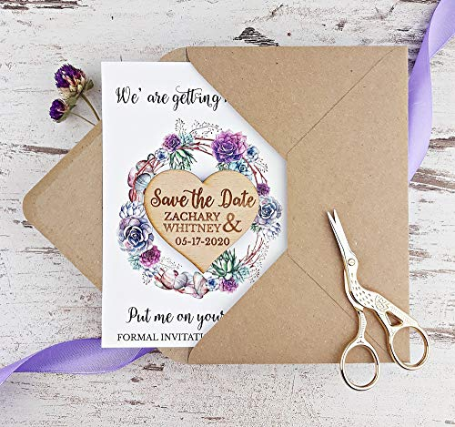 Succulent Save The Date Card, Heart Wedding Save The Date Magnet, Rustic Save The Date Card, Wood Save The Date, Rustic Magnet Set of 20
