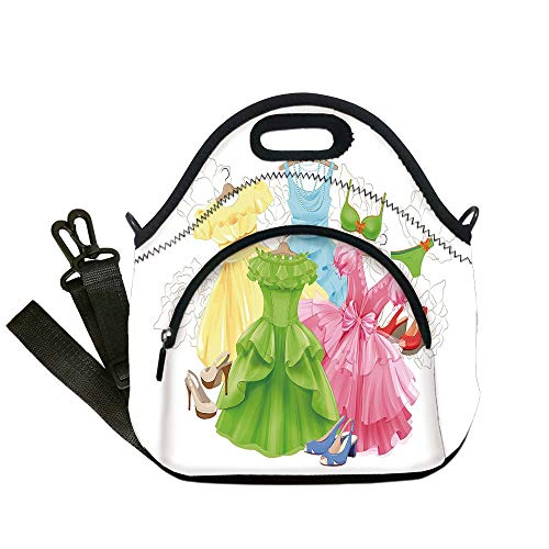 Insulated Lunch Bag,Neoprene Lunch Tote Bags,Heels and Dresses,Princess Outfits Bikini Shoes Wardrobe Party Costumes Girls Room Decor,Multicolor,for Adults and children]()