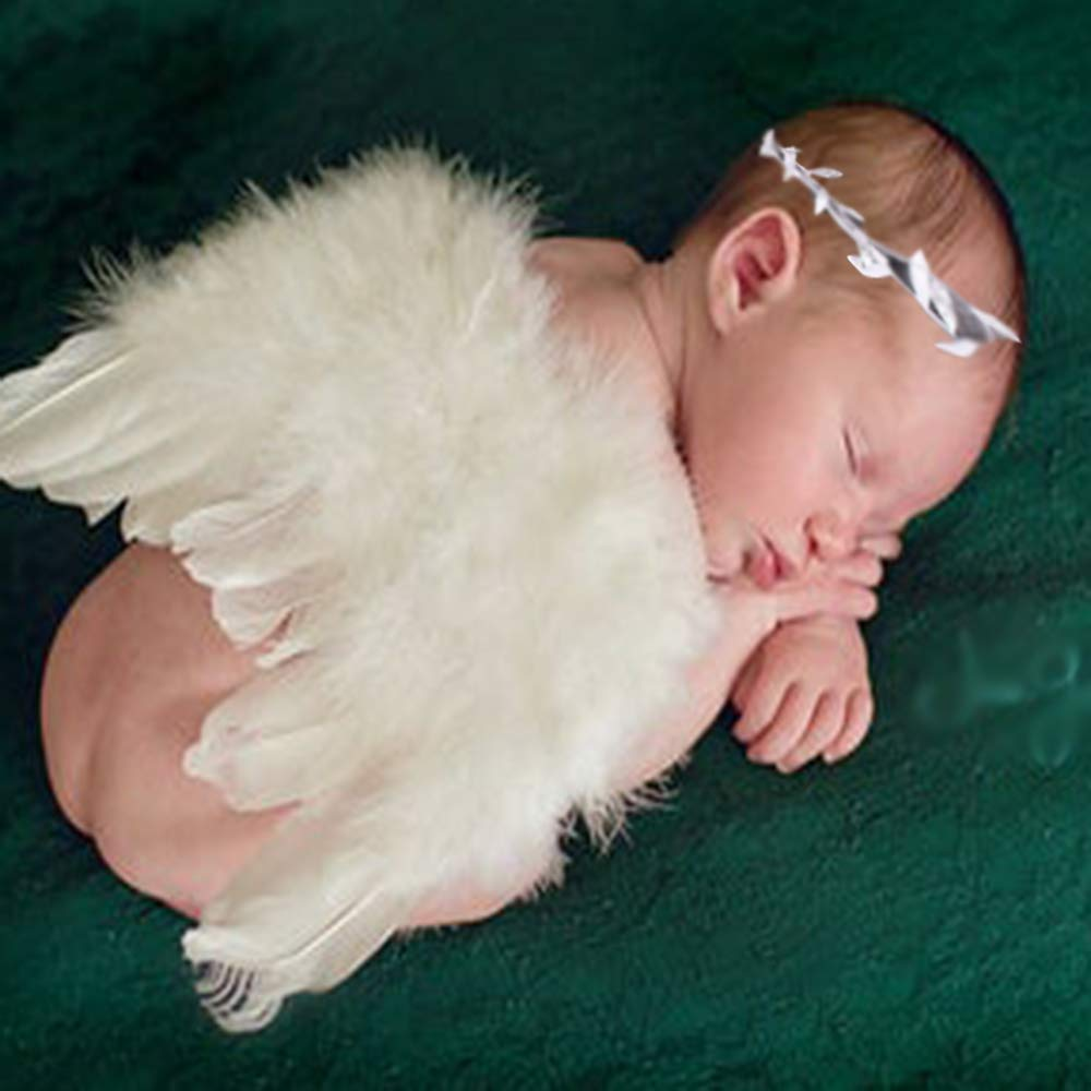 Swovo Baby Angel Wings Feather Wings Newborn Photo Prop with Leave Headbands Set Newborn Costume 0-6 Months Infant Toddler