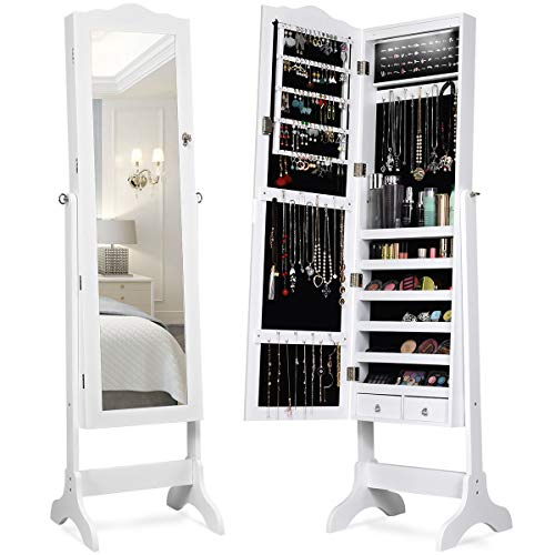 Giantex Lockable Standing Jewelry Armoire with 14 Auto-on LED & Full Length Mirror, 14 LEDs Jewelry Mirrored Cabinet and Storage Organizer with 2 Drawers, 4 Angles Adjustable (White) (Mirror Jewelry Cabinets With)