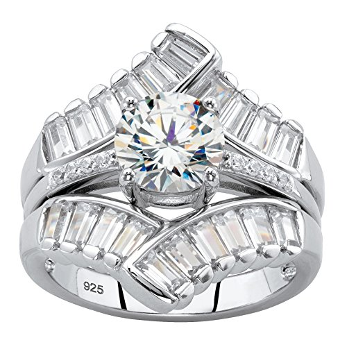 Platinum over Sterling Silver Round and Baguette Cubic Zirconia Jacket Bridal Ring Set Size 6 (Round Brilliant With Tapered Baguettes Engagement Ring)