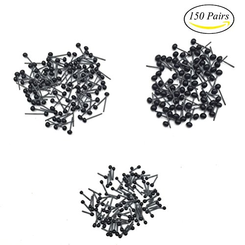 Mmei 150 Pairs 2mm 3mm 4mm Mixed Mini Black Glass Eyes kits (Glass Eyes Toys Dolls)