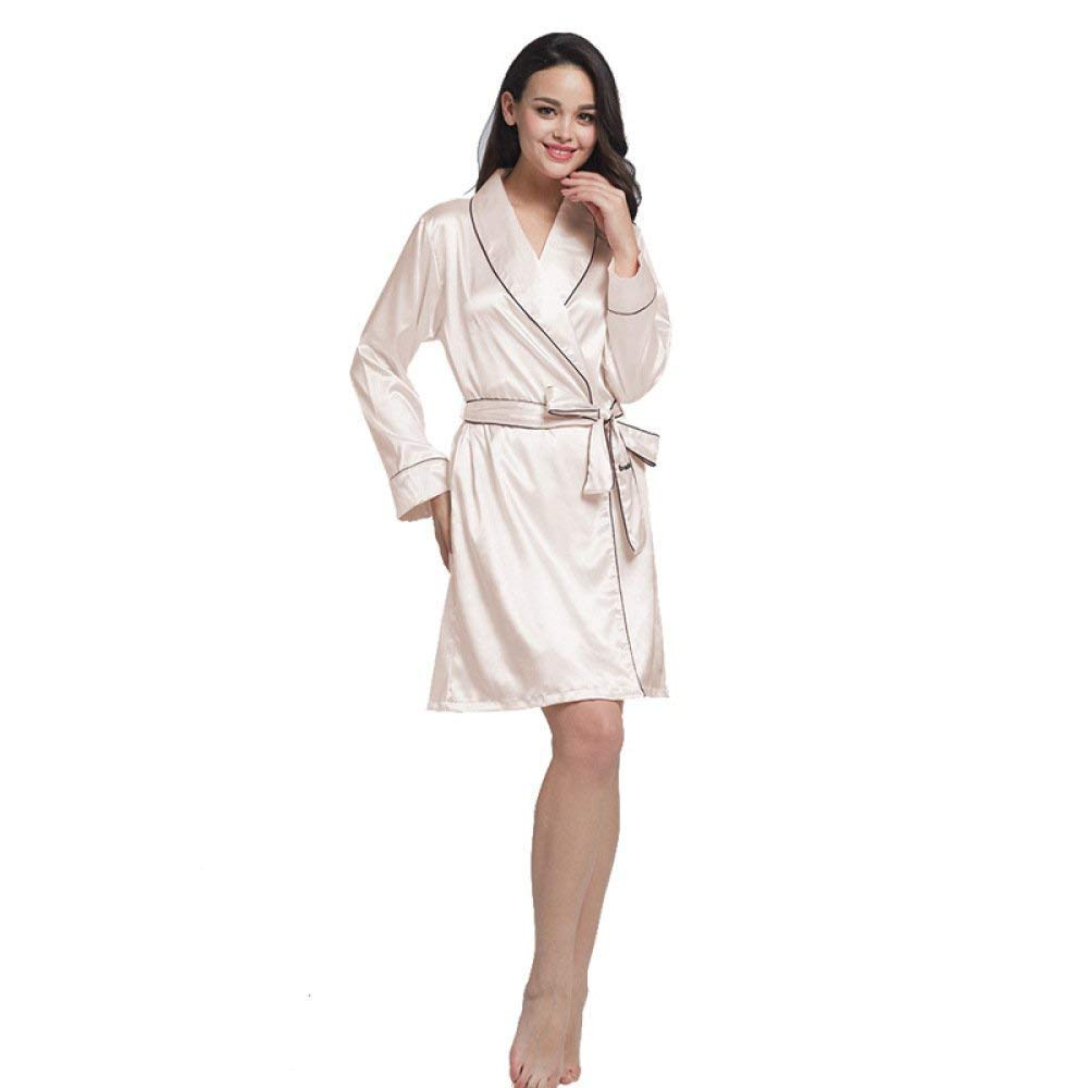 d8920a82576d Ladies Bathrobe Pajamas Anti Silk Pajamas Lace Strap Pajamas Clásico Ice  Silk Pajamas Long Sleeve Kimono Nightdress Chemise Girl  Amazon.co.uk   Clothing