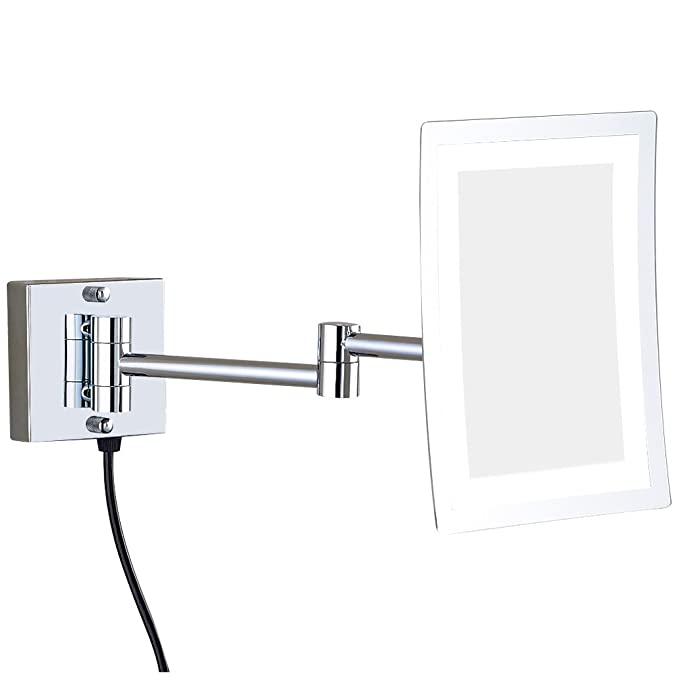 Gurun Wall Mounted Makeup Mirror Lighted Rectangle With 3x