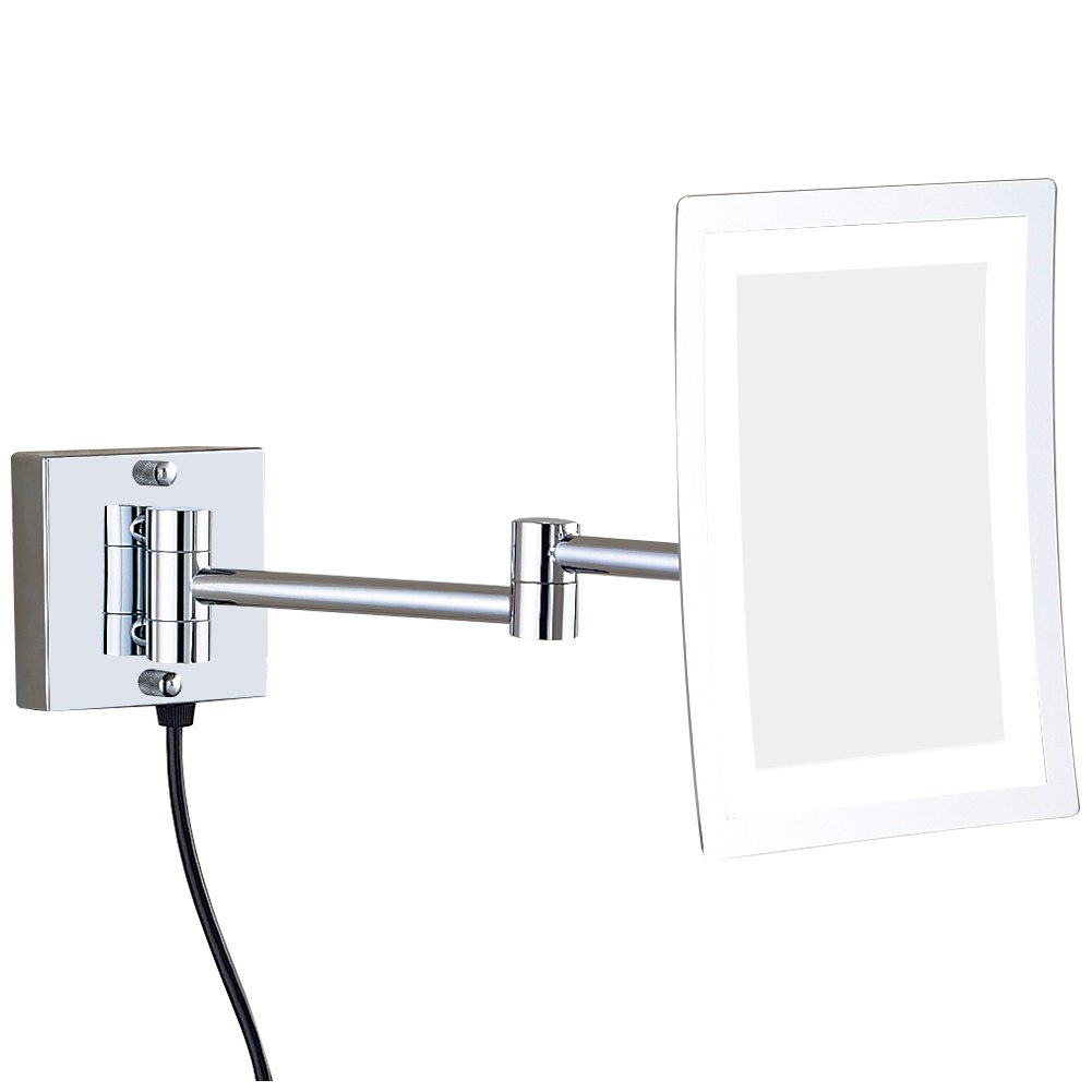 GURUN Wall Mounted Makeup Mirror Lighted Rectangle with 3X Magnification,Single-Sided Made of Brass,Chrome Finished 1801D