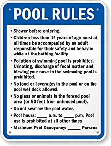 """New York Pool Rules Sign, 24"""" x 18"""""""