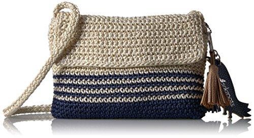 Sakroots Byron Crochet Flap Crossbody, Denim Cabana (Cross Body Flap Handbag)