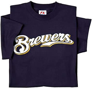 Majestic Milwaukee Brewers Crew Neck Youth Boys T-Shirt