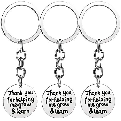Nzztont Pack of 3 Teacher Bangles Gifts for Teacher Open School Gifts for Teachers Thank You Bangle Bracelets (3PCs Keychain Style 01- Thank You for Helping Me Grow & Learn) ()