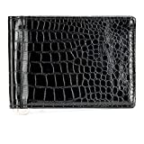 Escaro Premium Quality Black Croco-Print Luxury Money Clipper ||Card Holder(EW9000RP_BLACK)