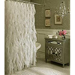 Cascade Shabby Chic Ruffled Sheer Shower Curtain (Ivory)