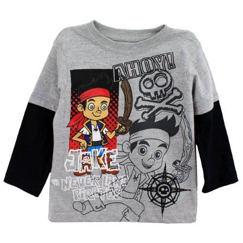 Disney Jake and the Neverland Pirates Toddler Boys Shirt Ahoy Tee Grey (2T) ()