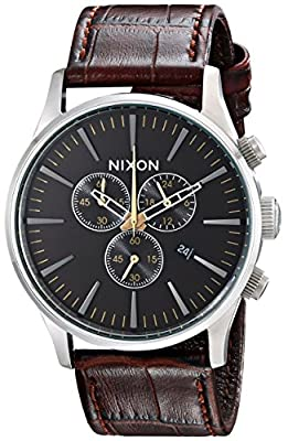 Nixon Men's Sentry Stainless Steel Chronograph Watch with Leather Band