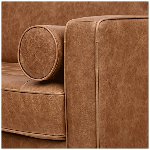 Farmhouse Living Room Furniture Amazon Brand – Rivet Aiden Mid-Century Modern Sofa Couch (86.6″W) – Cognac Leather farmhouse sofas and couches