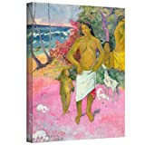 Paul Gauguin 'A Walk by the Sea' gallery-wrapped canvas is a high-quality canvas print depicting a tropical island scene. A native family dressed in traditional clothing strolls near crashing waves. Eugene Henri Paul Gauguin was raised in Peru, the s...