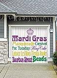 Outdoor Mardi Gras Decorations Garage Door Banner Cover Mural Décoration 8'x8' - Mardi Gras Words - ''The Original Mardi Gras Supplies Holiday Garage Door Banner Decor''