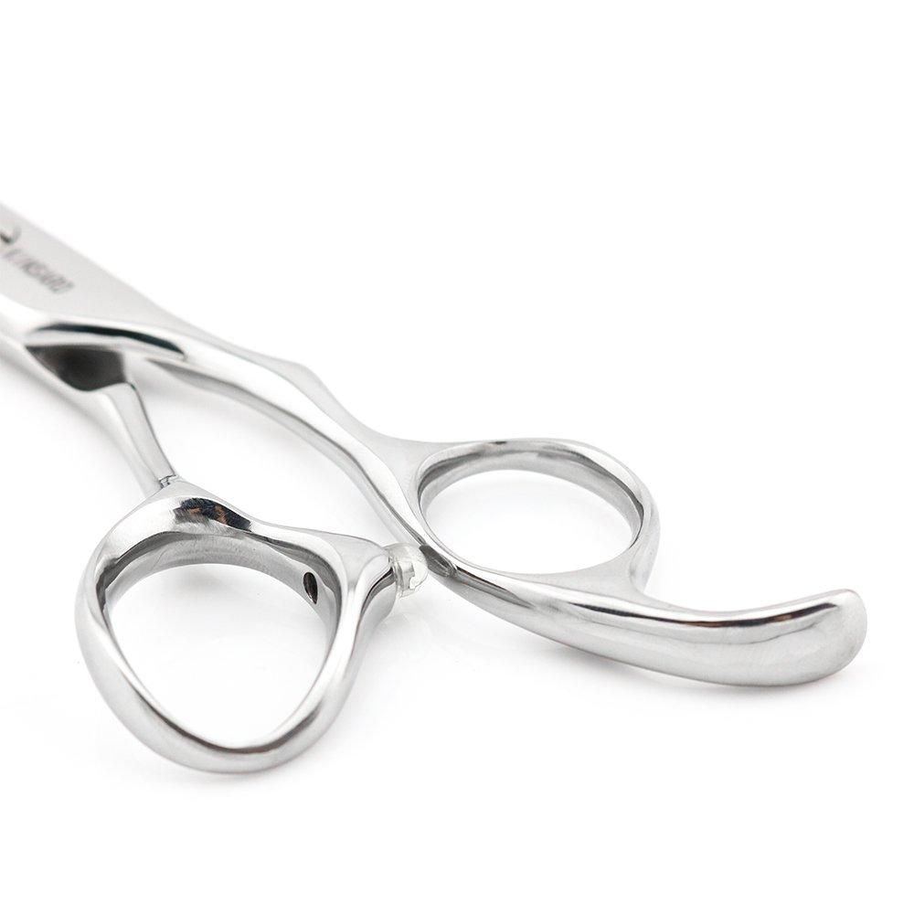 6'' Professional Hair Cutting Shears Convex Edge Japan 440C Silvery Barber Hair Scissors Kinsaro by KINSARO (Image #6)