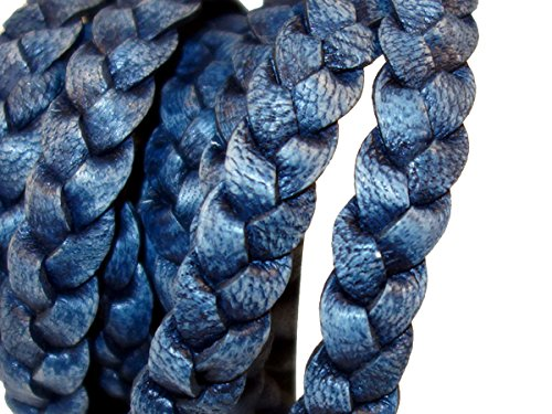 cords craft 10mm 3 Ply Flat Braided Genuine Leather Cord, Denim Color, Hand Braided, Roll of 2 Meters