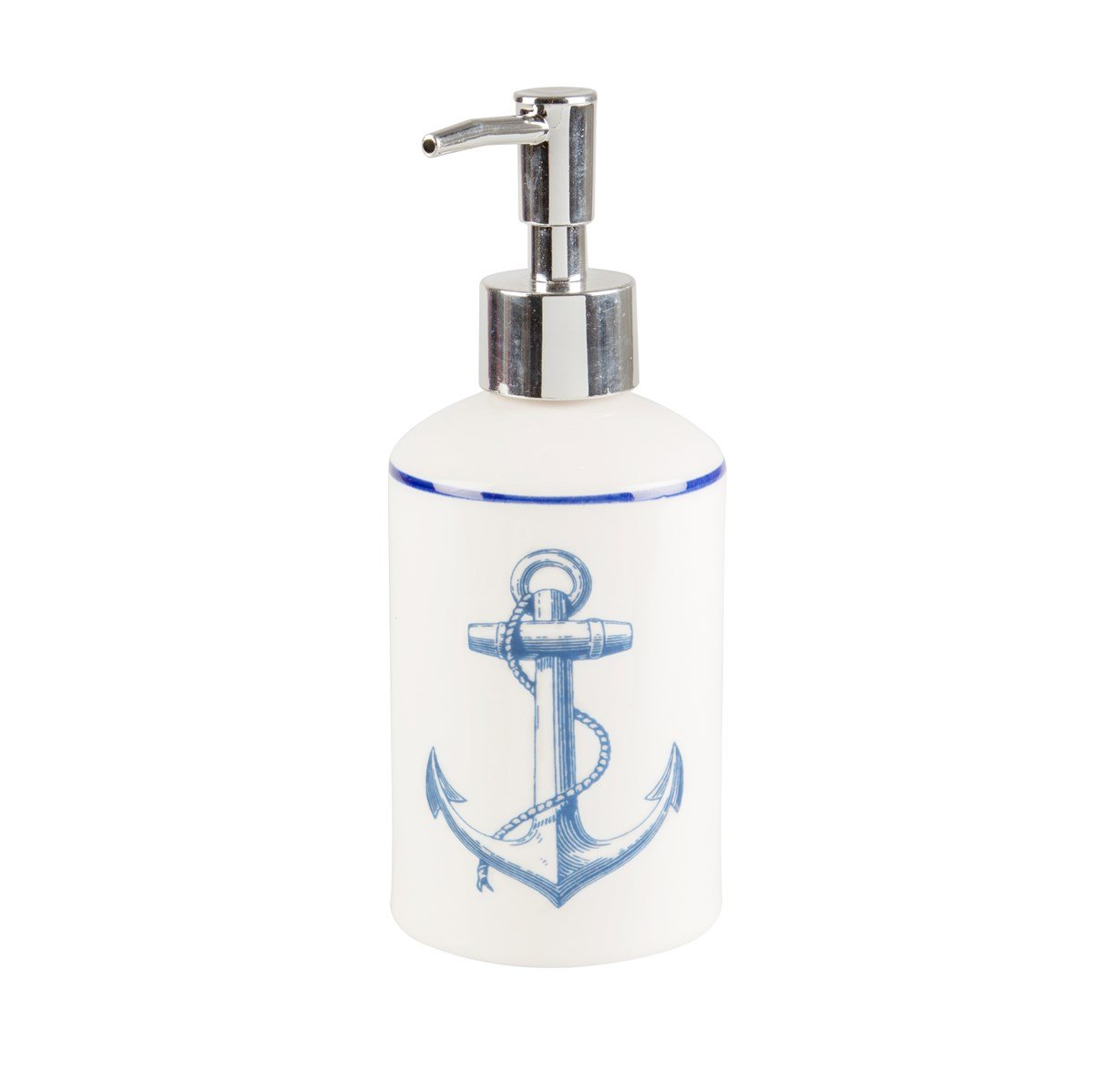 Sass & Belle Nautical Vintage Sea Collection Blue & White Ceramic Anchor Soap or Lotion Dispenser RJB Stone