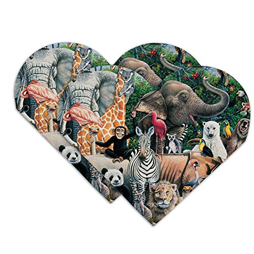 World Animals Family Reunion Monkey Bear Zebra Elephant Heart Faux Leather Bookmark - Set of - Bookmark Heart Reunion