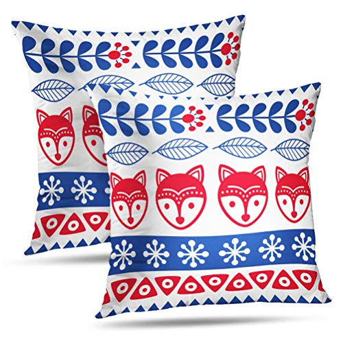 (Hdmly Fox Floral Decorative Throw Pillow Cover Cushion Covers Folk Art Floral with Animal Blue Child Creative Culture Cute Set of 2 Square Pillowcase for Home Decor Couch Sofa 18