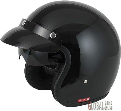 V-CAN Vcan V537 Open Face Motorcycle Helmet XS Gloss Black