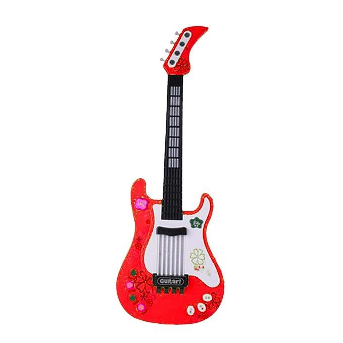 MRKE Guitarra Electrica Niños 57cm Rock Juguete de Instrumentos Musicales con Luces de Colores para Infantil Niño y Niña 3-7 Años (Rojo): Amazon.es: ...