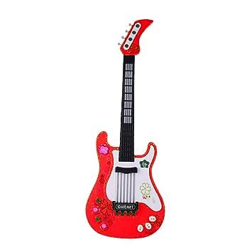 Foxom Guitarra Electrica Niños - Infantil Guitarra Rock Guitarra Juguetes Sin Cuerdas - Instrumento Musical para Niño y Niña de 3 años + (Rojo): Amazon.es: ...