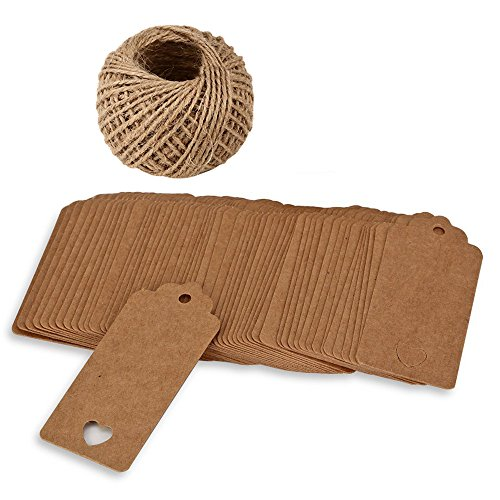 Shintop 100pcs Kraft Paper Tags Hollow Heart Shaped Personalized Gift Tags With 100 Feet Natural Jute Twine For Thanksgiving Christmas Wedding Festival Vintage Clothing Labels