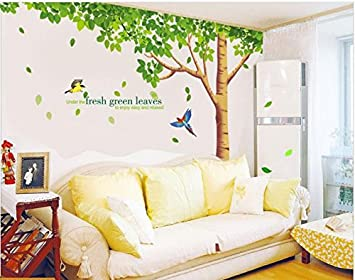 Rainbow Fox Large Pink Sakura Flower Cherry Blossom Tree Wall Sticker Decals  PVC Removable Wall Decal