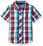 U.S. Polo Assn. Big Boys' Cotton Plaid Short Sleeve Woven Sport Shirt, Nantucket Red, 18