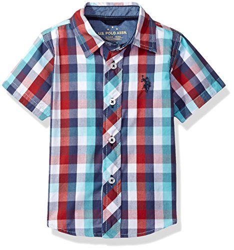 U.S. Polo Assn. Big Boys' Cotton Plaid Short Sleeve Woven Sport Shirt, Nantucket Red, 8 (Sport Woven Shirt)