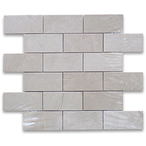 Crema Marfil Spanish Marble Subway Brick Mosaic Tile 2 x 4 Polished