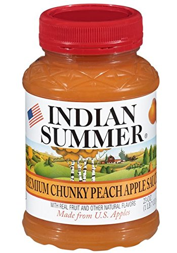Indian Summer Chunky Peach Applesauce, 23 Ounce  (Pack of 6)