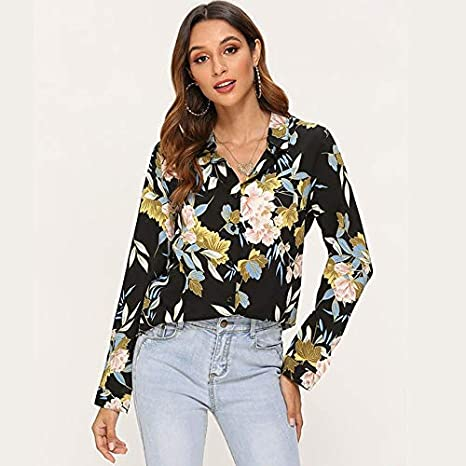SETGVFG Blusas De Mujer Camisa De Blusa Vintage De Manga Larga Estampada De Moda Casual Turn Down Collar Ladies Tunic Tops Plus Size Blusas XL Black: Amazon.es: Deportes y aire libre