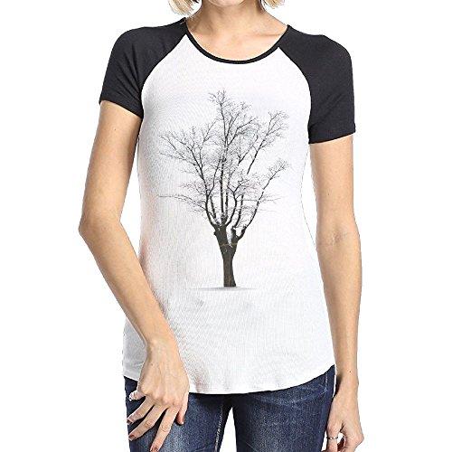 Askdji2 Women's Two-Toned Tee-Cool Snow Tree - Tree Shipping Hut Free