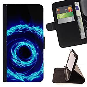 BullDog Case - FOR/Samsung Galaxy S4 Mini i9190 / - / cool abstract fire spiral circle hole dimension /- Monedero de cuero de la PU Llevar cubierta de la caja con el ID Credit Card Slots Flip funda de cuer