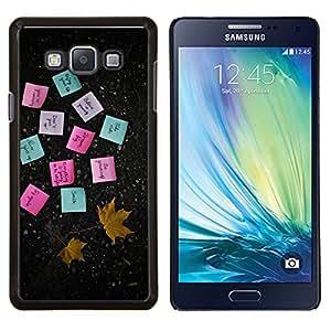 """Be-Star Único Patrón Plástico Duro Fundas Cover Cubre Hard Case Cover Para Samsung Galaxy A7 / SM-A700 ( Notas Adhesivas Papel Hoja de arce del otoño"""" )"""