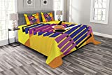 Lunarable Xylophone Bedspread Set King Size, Contemporary Hippie Style Musical Vibes Indie Rock Party Icon Abstract Design, Decorative Quilted 3 Piece Coverlet Set with 2 Pillow Shams, Multicolor