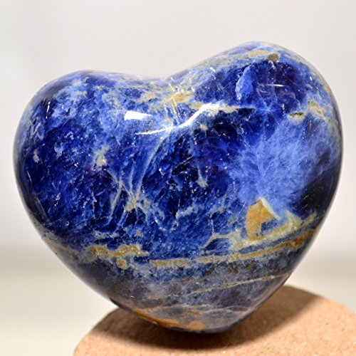 (45mm Blue Sodalite Crystal Puffy Heart Quartz Stone Mineral Polished Gemstone Specimen Heart)