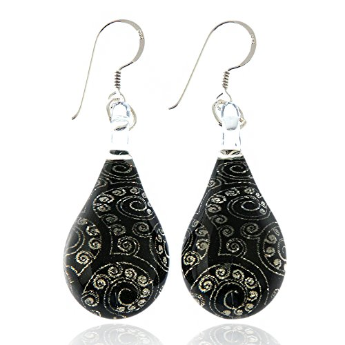 925 Sterling Silver Hand Blown Murano Glass Abstract Black Silver Glitter Waterdrop Dangle - Abstract Earrings