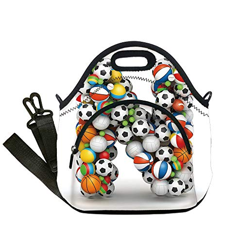 (Insulated Lunch Bag,Neoprene Lunch Tote Bags,Letter N,Sports Equipment Football Volleyball Tennis Ball Capital N Symbol Alphabet Design Decorative,Multicolor,for Adults and children)