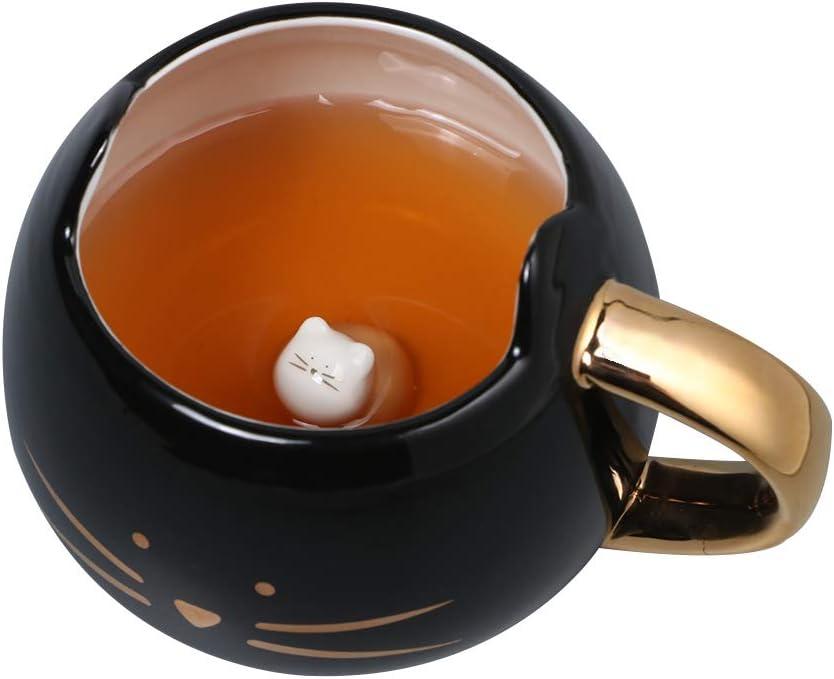 Koolkatkoo Cute Ceramic Cat Coffee Mug 12 oz Cat Lovers Kitty Tea Mugs Gifts for Women Girls Black