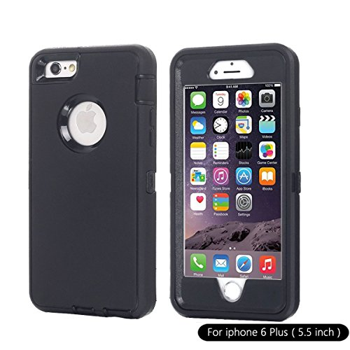 iPhone 6 Plus Case,iPhone 6S Plus Case [Heavy Duty] AICase Built-in Screen Protector Tough 4 in 1 Rugged Shockproof Cover for Apple iPhone 6 Plus / 6S Plus (Black)