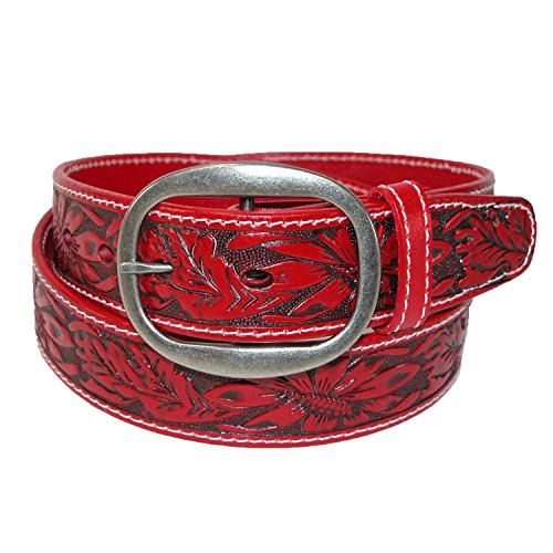 CTM Leather Western Embossed Belt with Removable Buckle, 44, Red -