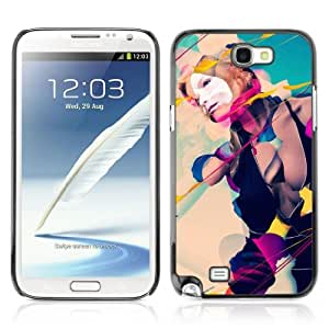 Designer Depo Hard Protection Case for Samsung Galaxy Note 2 N7100 / Cool Abstract Art Composition Girl