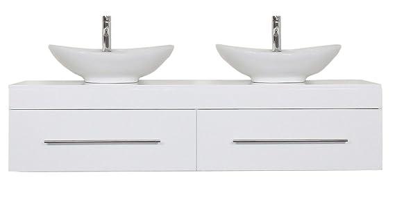 Badmöbel Classico XL weiss hochglanz mit Aufsatzwaschbecken: Amazon ...